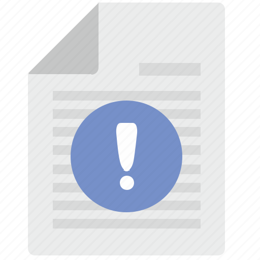 attention, doc, document, info, warning icon