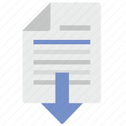 arrow, document, down, file, paper, text icon