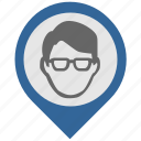 face, head, location, map, pointer icon