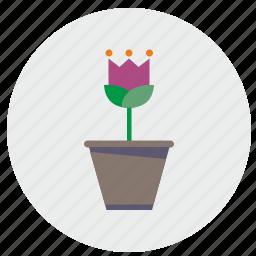 bud, flower, home, plant, round icon
