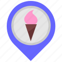 cone, cream, food, ice, map, place, pointer icon