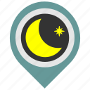 hotel, location, night, place, pointer, sleep icon