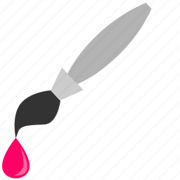 brush, color, draw, instrument, magenta, pink icon