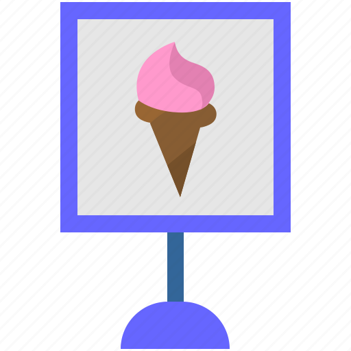 banner, cream, food, ice, location, pointer icon