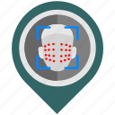 biometry, detect, face, place, pointer icon