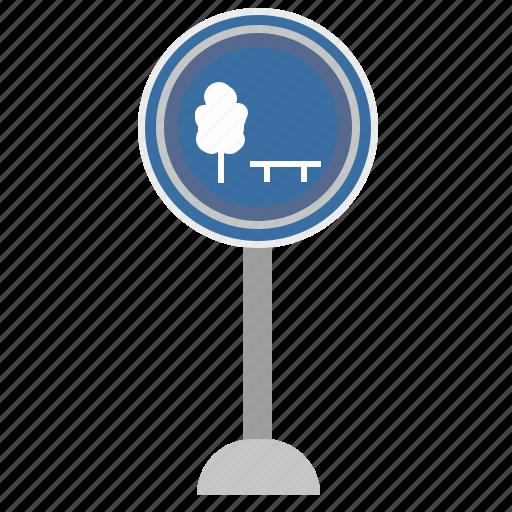 park, poi, road, sign, tree, warning icon