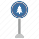 fir, forward, poi, road, sign, tree, warning icon