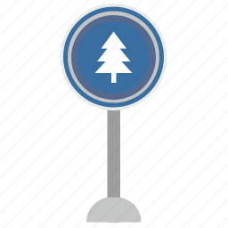 fir, forward, poi, road, sign, tree, warning icon