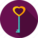 heart, key, love, secure, valentine icon
