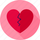 broken, divorce, feeling, heart, love, single, valentine icon