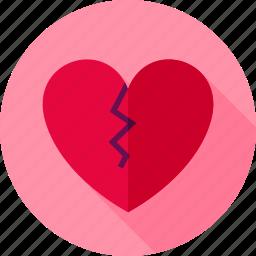 broken, divorce, feeling, heart, love, single, valentine icon