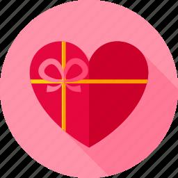 gift, heart, love, present, romance, valentine icon