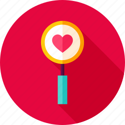 glass, heart, love, magnifying, search, valentine icon