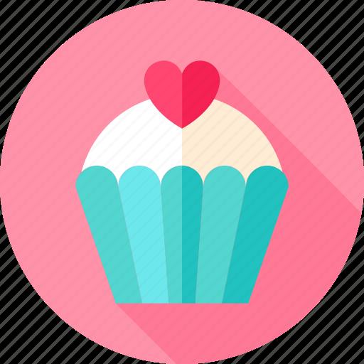 cake, cupcake, dessert, heart, love, sweet, valentine icon