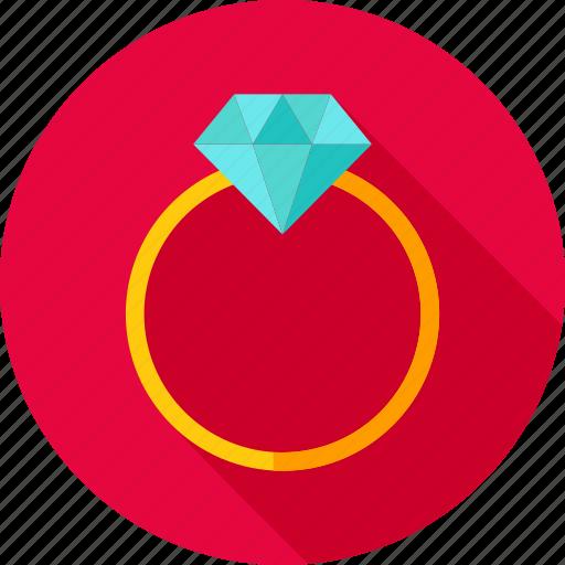 diamond, gem, jewel, love, proposal, ring, wedding icon