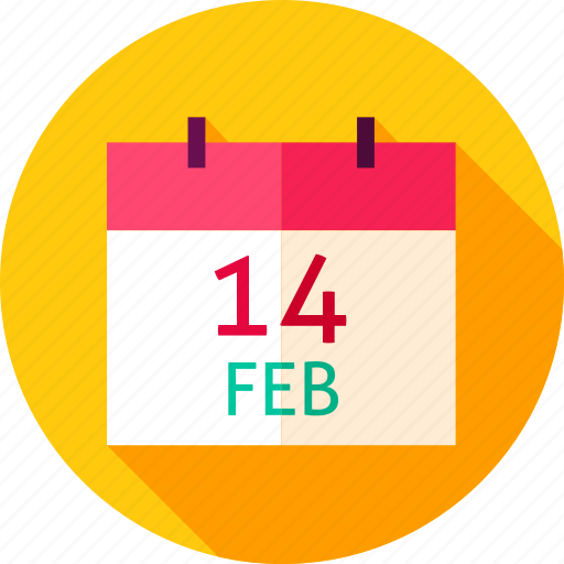 calendar, date, day, february, holiday, love, valentine icon
