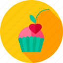 cake, cherry, cupcake, dessert, food, heart, sweet icon