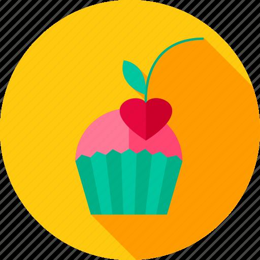 cake, cherry, cupcake, dessert, food, heart, sweet icon