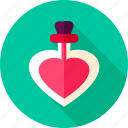 bottle, heart, love, mixture, parfume, valentine icon