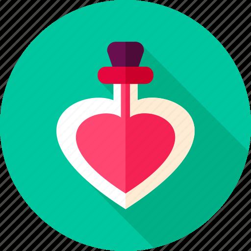 bottle, heart, love, mixture, parfume, valentine icon