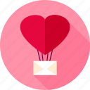heart, love, valentine, air, balloon, letter, message