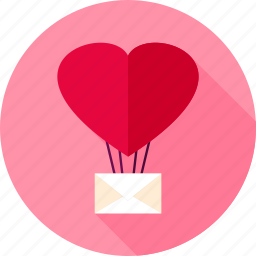 air, balloon, heart, letter, love, message, valentine icon