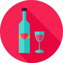 alcohol, bottle, drink, glass, heart, love, wine icon