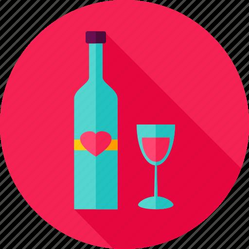 alcohol, bottle, drink, glass, heart, love, wine icon