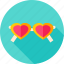 accessory, fashion, glasses, heart, love, sunglasses, valentine icon