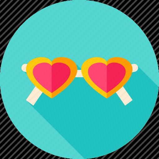 accessory, fashion, glasses, heart, love, sunglasses, valentine icon