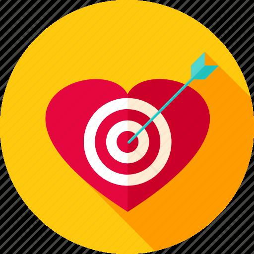 aim, arrow, cupid, heart, love, target, valentine icon