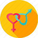 female, heart, love, male, sex, sign, valentine icon