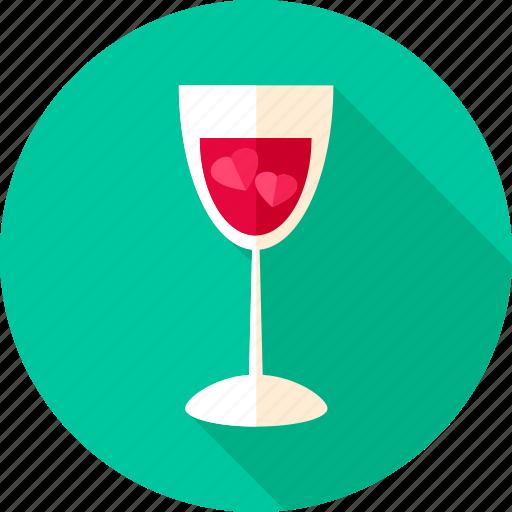 alcohol, drink, glass, heart, love, valentine, wine icon