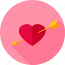arrow, cupid, heart, love, pierced, romance, valentine icon