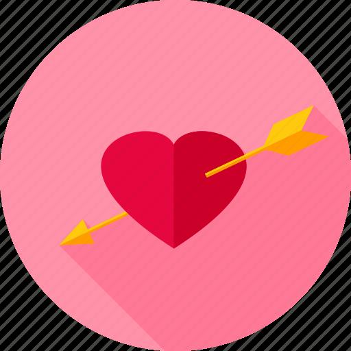arrow, cupid, heart, love, pierced, romance, valentine icon