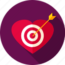aim, arrow, heart, love, romance, target, valentine icon