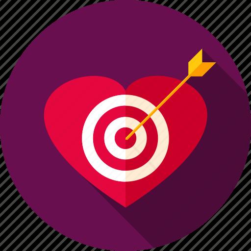 aim, arrow, heart, love, romance, target, valentine icon