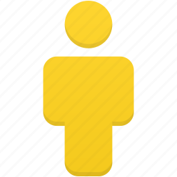 account, human, people, person, profile, user, yellow icon
