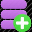 new, plus, database, add, data, storage, server