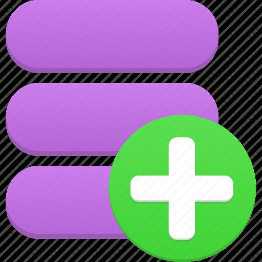 add, data, database, new, plus, storage icon