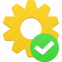 accept, good, ok, process, setting, success, tick, wheel, yes icon