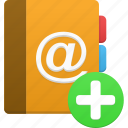 add, addressbook, book, phonebook icon