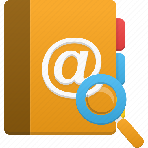 addressbook, book, phonebook, search icon