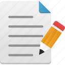 document, draw, edit, file, list, order, paper, pencil icon