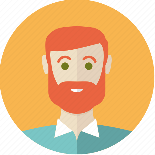 avatar, bearded, face, guy, man, person, red icon