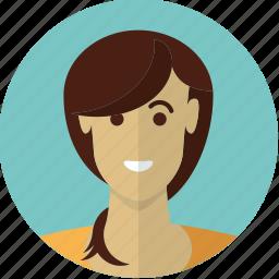 avatar, beautiful, face, female, girl, long hair, woman icon