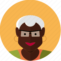 african, avatar, face, female, granny, old, woman icon