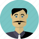 avatar, face, hispanic, male, man, moustache, person icon