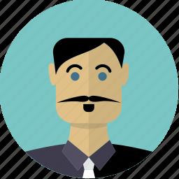 avatar, face, hispanic, male, man, moustache, person icon