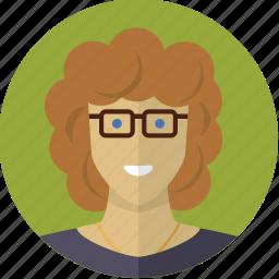 avatar, face, girl, glasses, locks, mature, woman icon